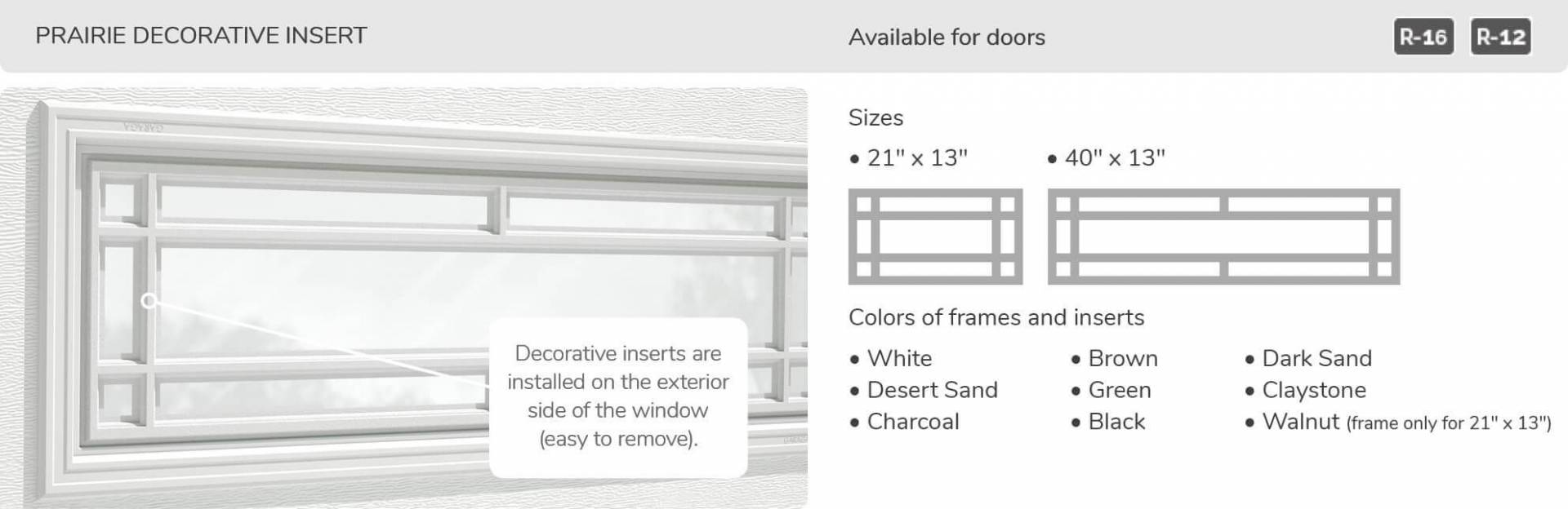 Prairie Decorative Insert, 21' x 13' and 40' x 13', available for doors R-16 and R-12
