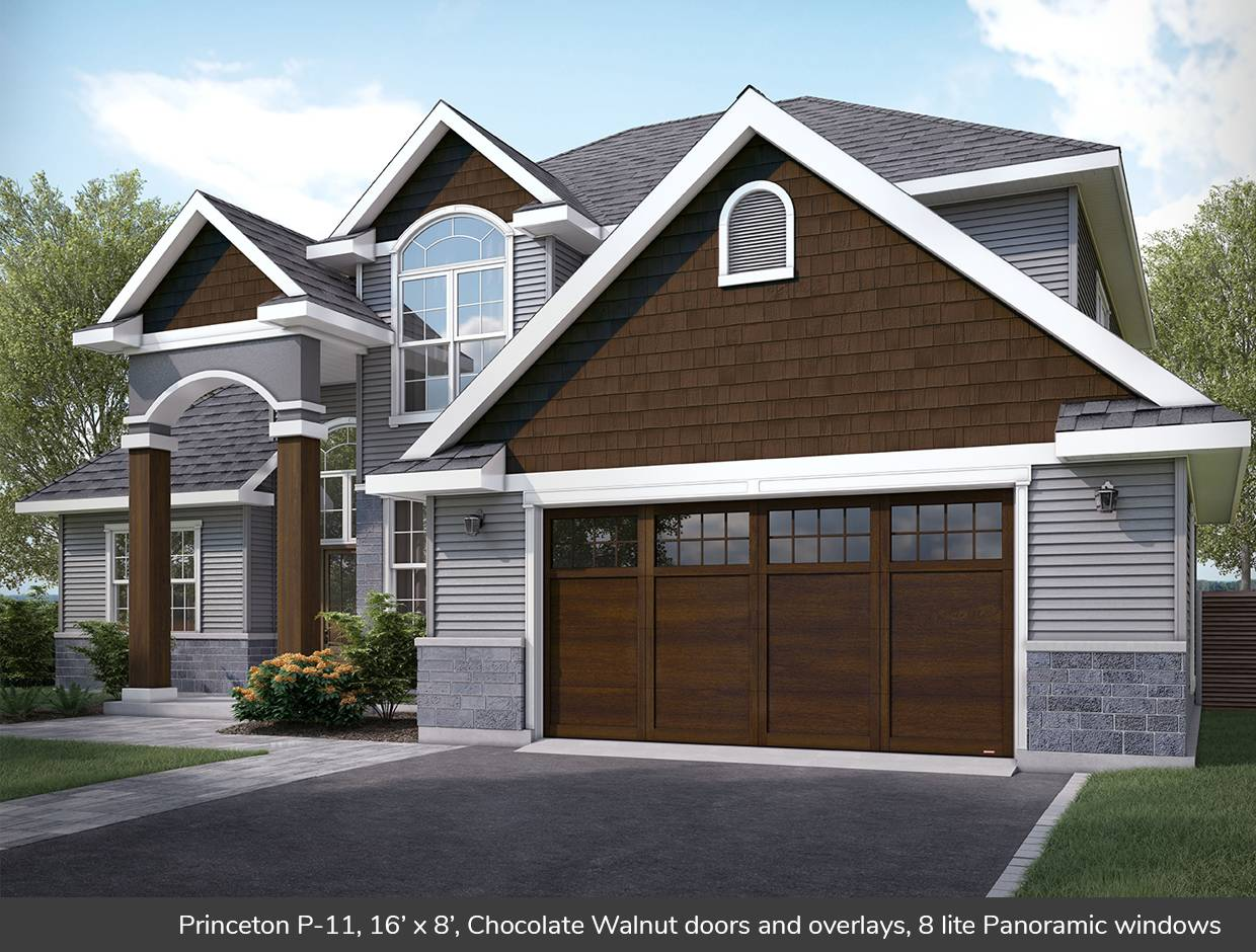 Princeton P-11, 16' x 8', Chocolate Walnut doors and overlays, 8 lite Panoramic windows