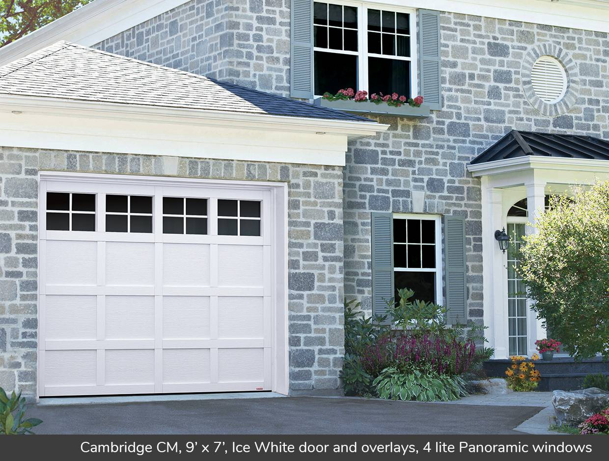 Cambridge CM, 9' x 7', Ice White door and overlays, 4 lite Panoramic windows